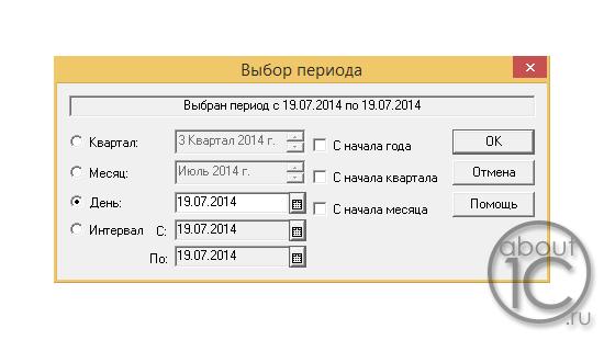 Диалог ввода периода на платформе 1С:Предприятие 7.7